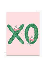 XO Topiary Bunnies Greeting Card