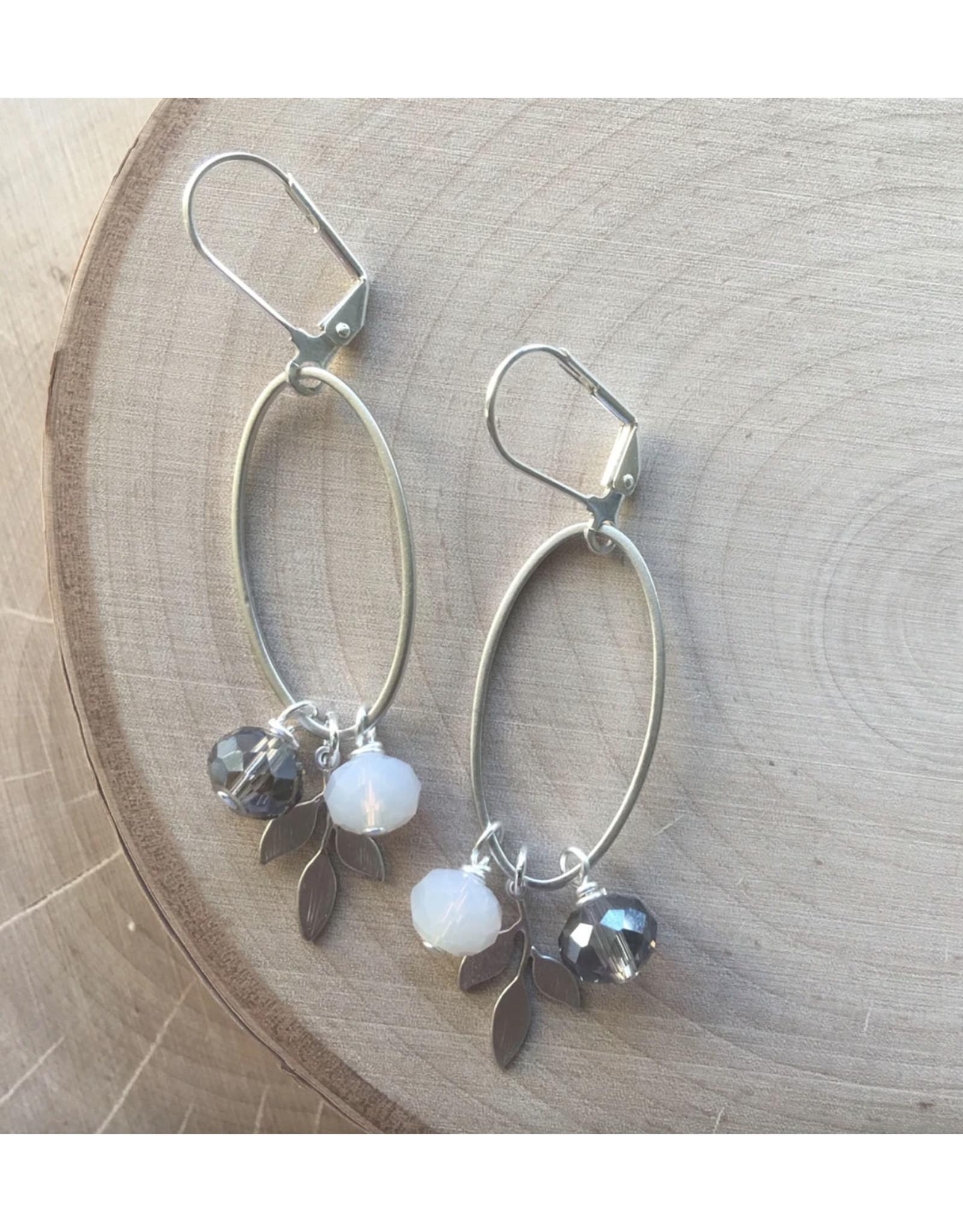 Silver Oval Cluster Earrings - Grey Glass