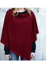 Autumn Knit Poncho - Cranberry