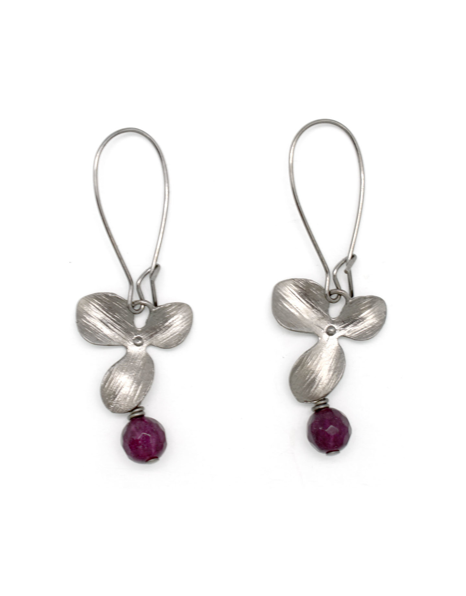 Gunmetal Flower Earrings - Purple Jade