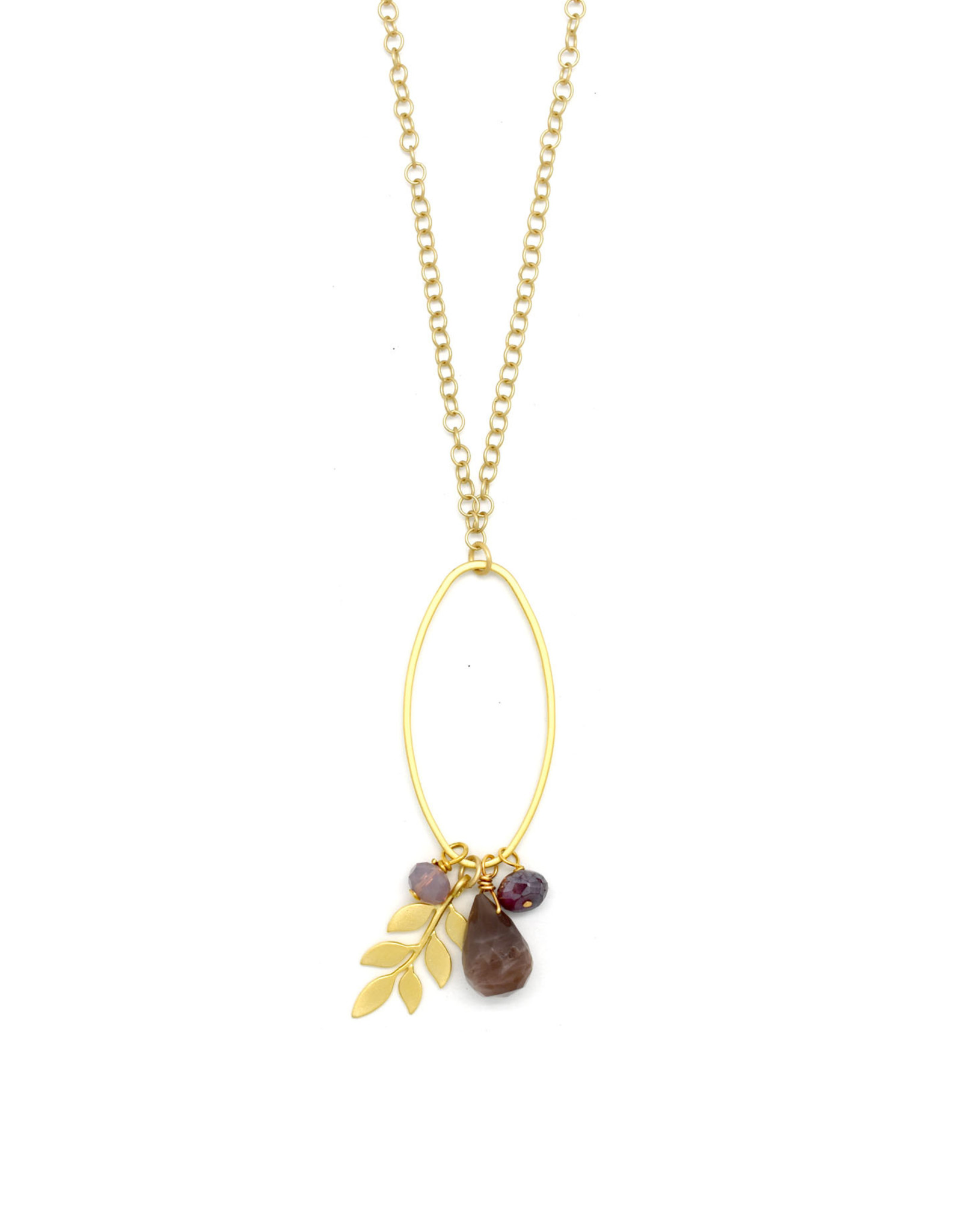 Gold Oval Leaf Gemstone Cluster Necklace