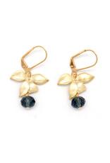 Gold Plumeria Earrings - Teal Glass