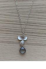 Silver Magnolia Pendant Necklace - Green Quartz