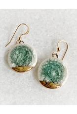 Glass Crackle Ceramic Earrings - Gold/Grey