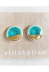 Glass Crackle Ceramic Stud Earrings - Gold/Teal