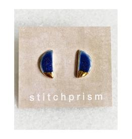 Half Moon Ceramic Stud Earrings -  Gold/Blue