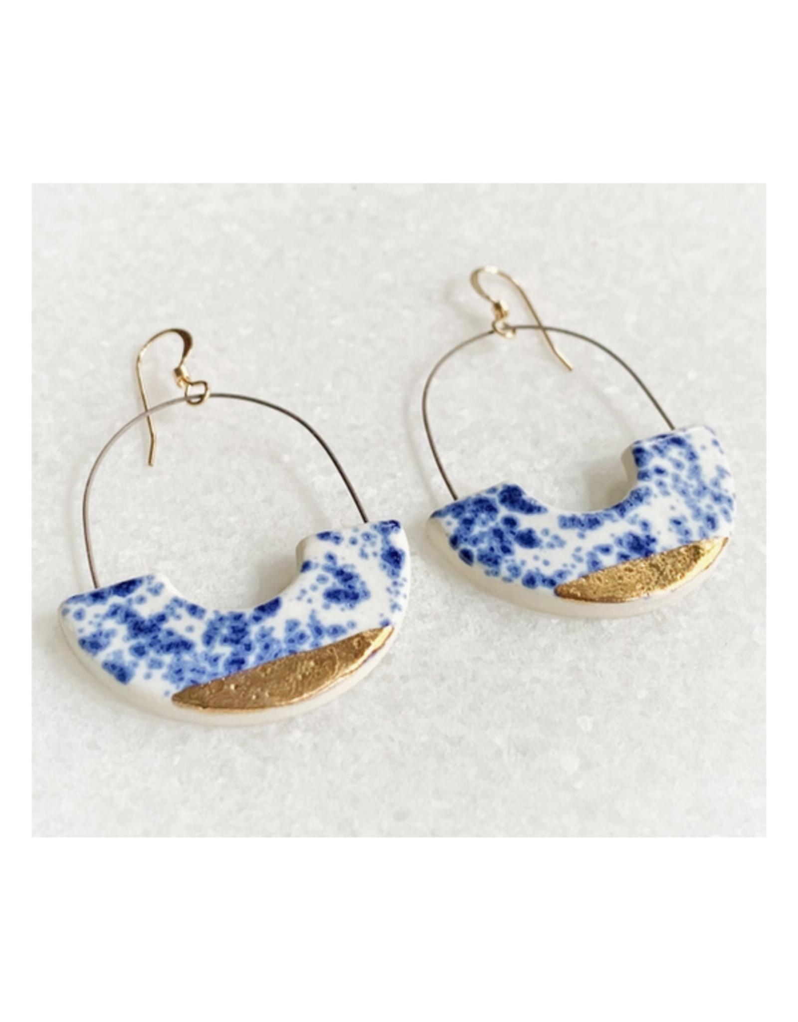 Hoop Cutout Ceramic Earrings -  Gold/Blue Speckle