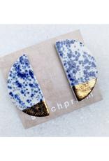 Large Half Moon Ceramic Stud Earrings -  Gold/Blue Speckle