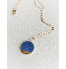 Small Circle Necklace -  Gold/Blue
