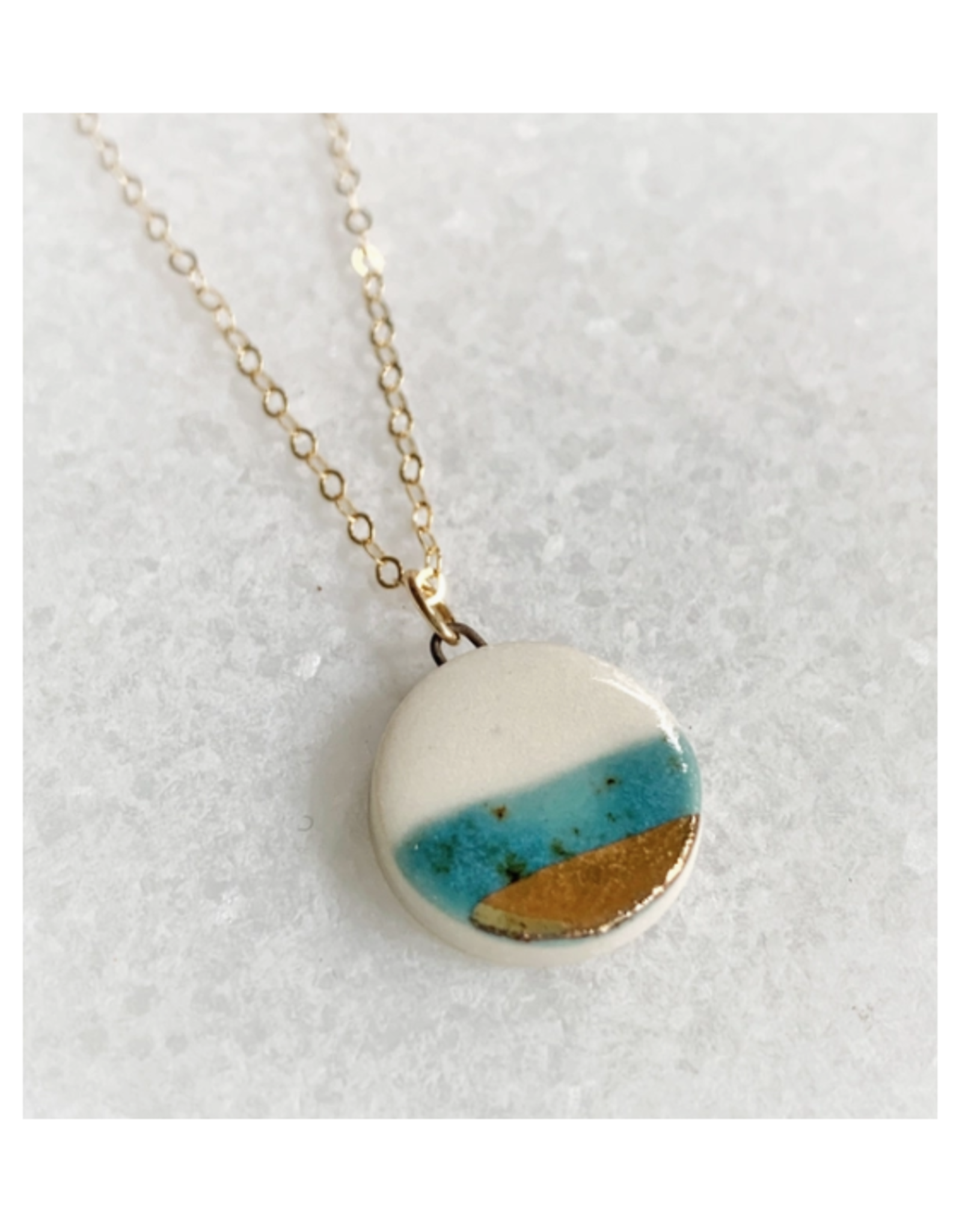 Small Circle Necklace - Gold/Teal