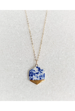 Small Hexagon Necklace -  Gold/Blue Speckle