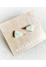 Spike Ceramic Stud Earrings - Gold/Aqua