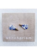Spike Ceramic Stud Earrings - Gold/Blue Speckle