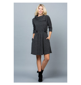 Faux Collar Sweater Dress with Buttons