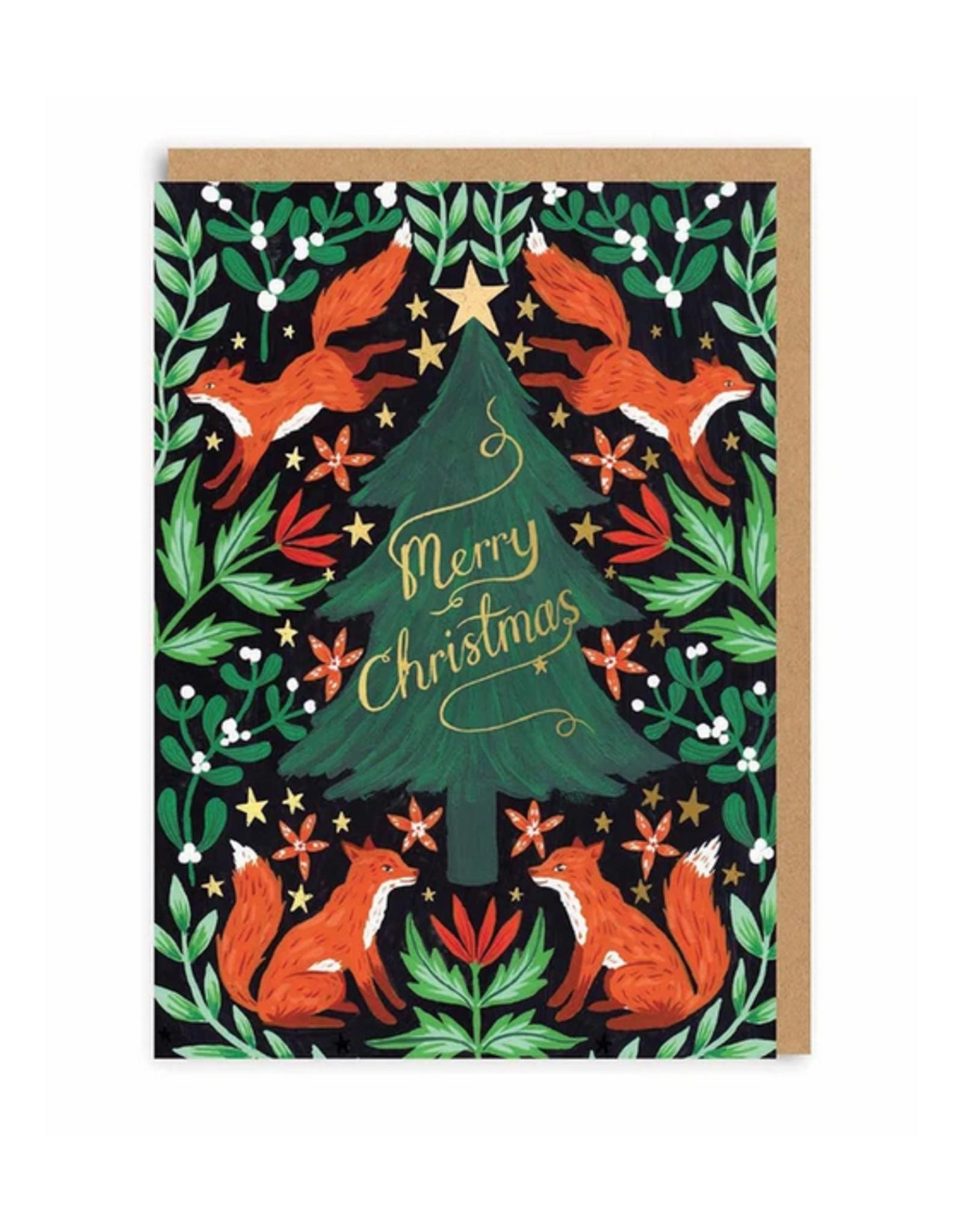 Merry Christmas Fox Trees Greeting Card