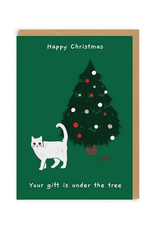 Your Gift is Under the Tree Cat Greeting Card