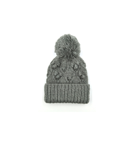 Chunky Bobble Pom Hat -  Grey