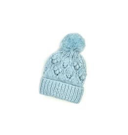 Chunky Bobble Pom Hat -  Light Blue
