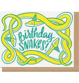 Frog & Toad Press Birthday Snakes! (yellow) Greeting Card