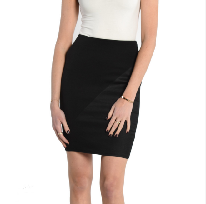 8614fae752 Black pencil skirt inset with faux leather Yoga Jeans - Sand'n'Sea ...