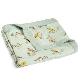 Milkbarn Milkbarn Big Bamboo Lovey Blanket Blue Birds