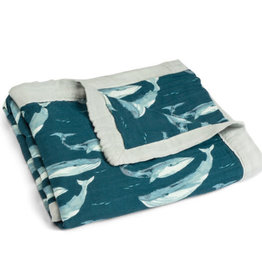 Milkbarn Milkbarn Big Bamboo Lovey Blanket Blue Whale