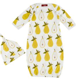 Milkbarn Milkbarn Organic Newborn Gown & Hat Set Pear