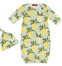 Milkbarn Milkbarn Organic Newborn Gown & Hat Set Lemon