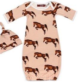 Milkbarn Milkbarn Organic Newborn Gown & Hat Set Horse