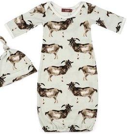Milkbarn Milkbarn Organic Newborn Gown & Hat Set Goat