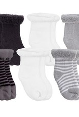 Kushies Baby Newborn Terry socks 6 pair Grey