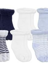 Kushies Baby Newborn Terry socks 6 pair Blue
