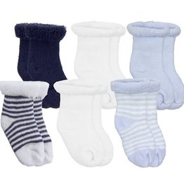 Kushies Baby Newborn Terry socks 6 pair Blue