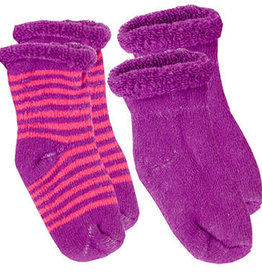 Kushies Baby Newborn Terry socks 2 pair Purp Sol/FusStri