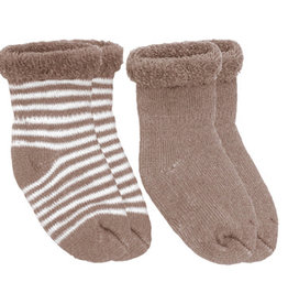 Kushies Baby Newborn Terry socks 2 pair Mocha Stripe/Solid