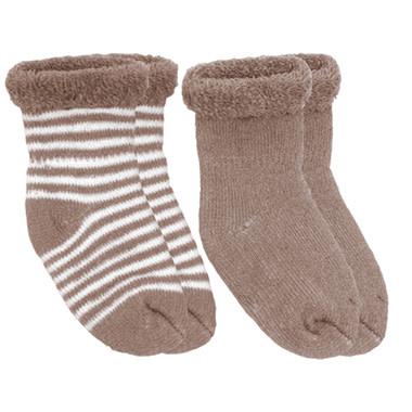 Kushies Baby Newborn Terry socks 2 pair Mocha Stripe/Solid
