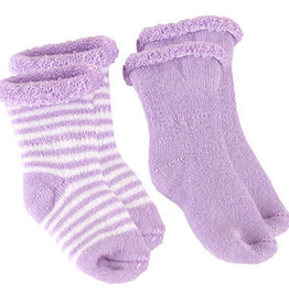 Kushies Baby Newborn Terry socks 2 pair Lilac Sol/WhtStri