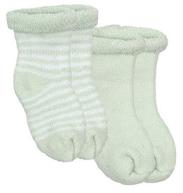Kushies Baby Newborn Terry socks 2 pair Green Sol/WhtStri