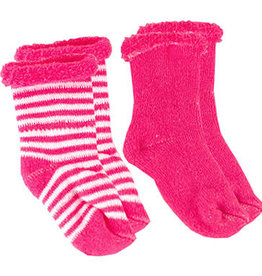 Kushies Baby Newborn Terry socks 2 pair Fuscia Sol/WhtStri