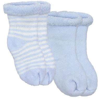 Kushies Baby Newborn Terry socks 2 pair Blue Sol/WhtStri