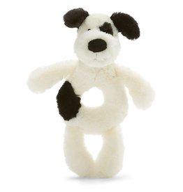 Jellycat Bashful Black & Cream Puppy Plush Ring Rattle