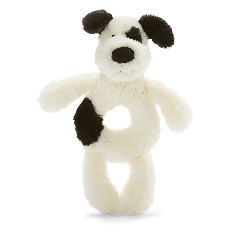 Jellycat Bashful Black & Cream Puppy Plush Ring Rattle