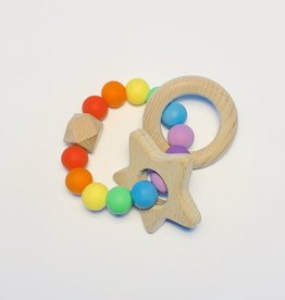 Sugar + Maple Silicone + Beechwood Teether Rainbow Baby