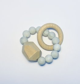 Sugar + Maple Silicone + Beechwood Teether Gem Marble