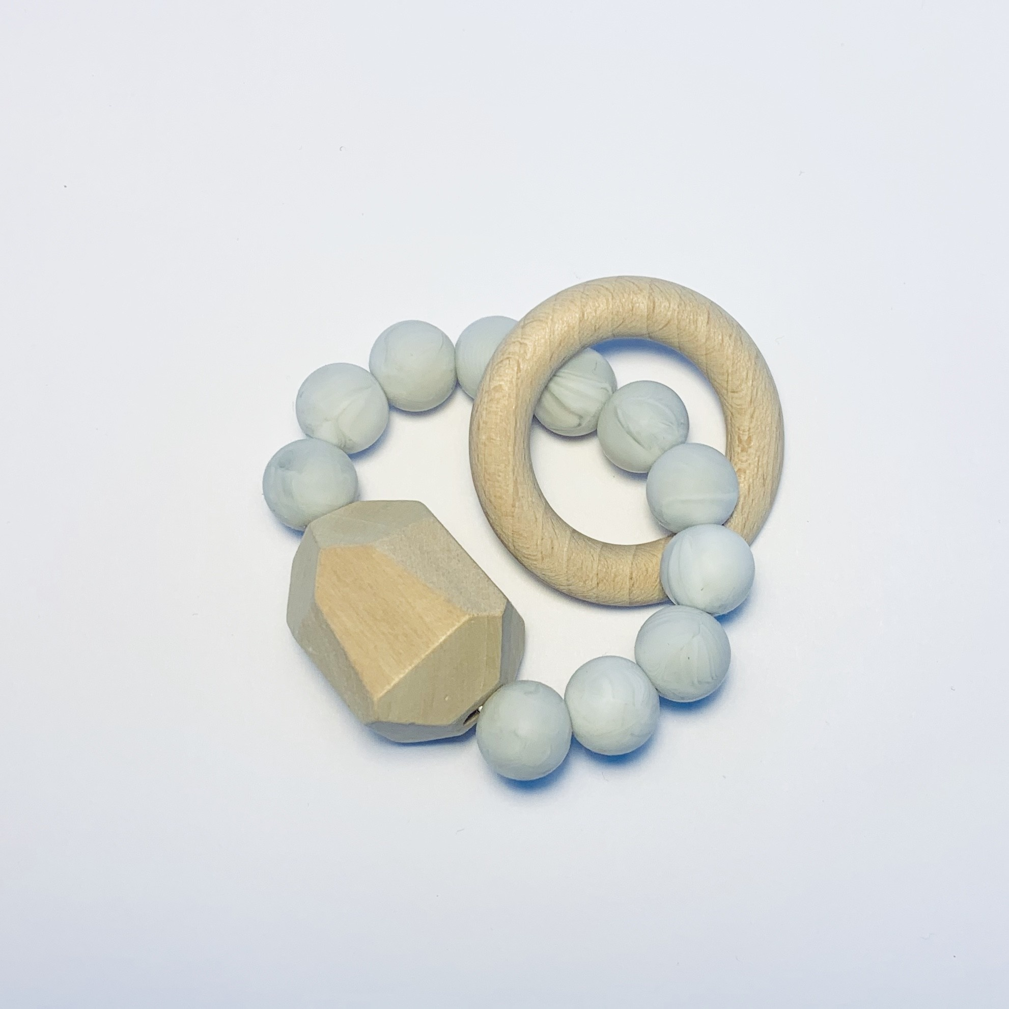 Sugar + Maple Silicone + Beechwood Teether Gem Marble