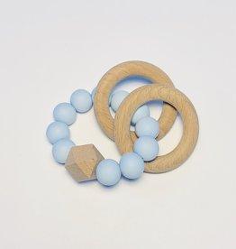 Sugar + Maple Silicone + Beechwood Teether 2 Ring Blue