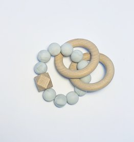 Sugar + Maple Silicone + Beechwood Teether 2 Ring Grey