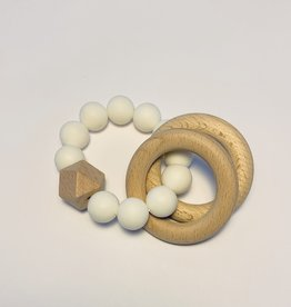 Sugar + Maple Silicone + Beechwood Teether 2 Ring White