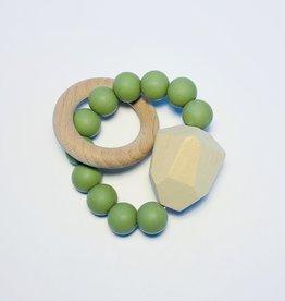 Sugar + Maple Silicone + Beechwood Teether Gem Moss