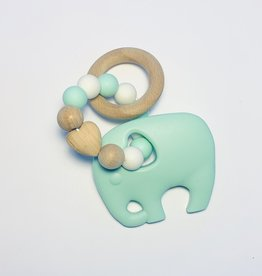 Sugar + Maple Silicone + Beechwood Teether Elephant Mint
